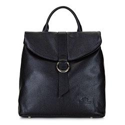 Женский складной кожаный рюкзак, черный, 92-4E-304-1, Фотография 1