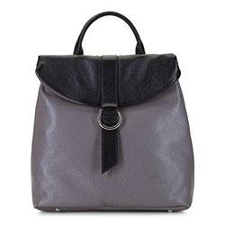 Женский складной кожаный рюкзак, серо - черный, 92-4E-304-8, Фотография 1