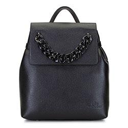 Женский кожаный рюкзак с цепочкой, черный, 92-4E-307-1, Фотография 1