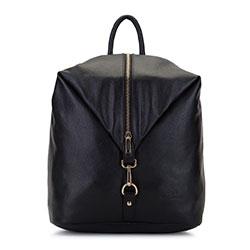 Женский кожаный рюкзак с карабином, черный, 92-4E-204-1, Фотография 1