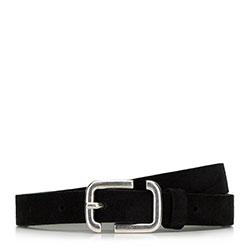 Женский кожаный замшевый ремень с геометрической пряжкой, черный, 91-8D-309-1-M, Фотография 1