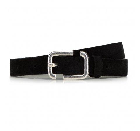 Женский кожаный замшевый ремень с геометрической пряжкой, черный, 91-8D-309-1-L, Фотография 1