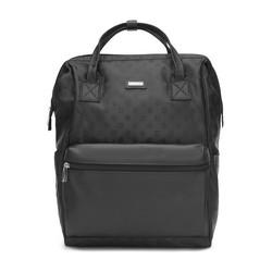 Женский жаккардовый рюкзак с монограммой и кожаным карманом, черный, 93-4-248-1, Фотография 1