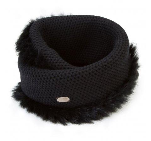 Женский шарф с мехом, черный, 91-7F-004-8, Фотография 1