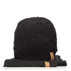 Зимний мужской комплект шапка и шарф, черный, 91-SF-200-1, Фотография 1