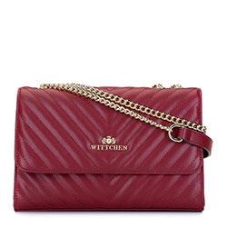Женская кожаная сумка через плечо с диагональной прострочкой и цепочкой, дар красный, 93-4E-604-3, Фотография 1