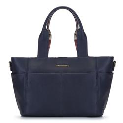 2-in-1-Tasche mit Blumenfutter, dunkelblau, 92-4Y-212-N, Bild 1