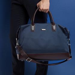 Reisetasche, dunkelblau-braun, 86-3U-211-7, Bild 1
