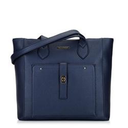 Klassische Shopper-Tasche mit Fronttasche, dunkelblau, 29-4Y-002-BN, Bild 1