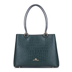 Kleiner Koffer aus Krokoleder, dunkelgrün, 93-4E-631-Z, Bild 1