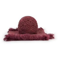 Damenmütze + Schal, dunkelrot, 89-SF-005-2, Bild 1