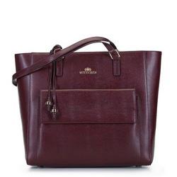 Shopper  aus Leder mit einer erweiterten Tasche, dunkelrot, 93-4E-600-2, Bild 1