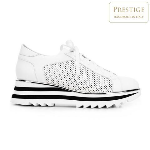 Női sneakers cipő lyukacsos bőrből, fehér fekete, 92-D-104-1-39, Fénykép 1