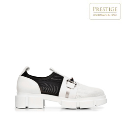 Női vaskos bőr cipők, fehér fekete, 92-D-136-0-39_5, Fénykép 1