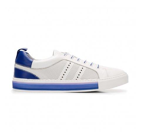 Férfi sneakers sportcipő lyukacsos bőrből, fehér kék, 92-M-901-O-42, Fénykép 1
