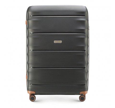 Nagy bőrönd, fekete barna, 56-3T-763-90, Fénykép 1