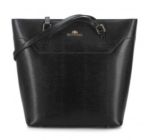 Shopper táska lizard bőrből, fekete, 91-4-700-7, Fénykép 1