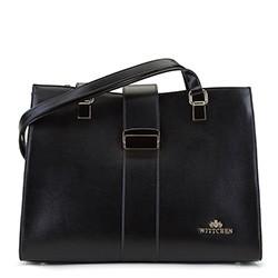 Női  táska  bőrből csattal, fekete, 92-4E-302-1, Fénykép 1