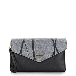 Boríték táska lánccal háromszögletű fronttal, fekete ezüst, 92-4Y-901-1, Fénykép 1