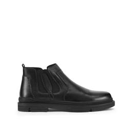 Férfi bőr Chelsea csizma cipzárral, fekete, 93-M-920-1-43, Fénykép 1