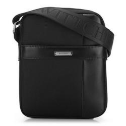 Férfi bőr és nejlon futár táska, fekete, 91-4U-205-1, Fénykép 1