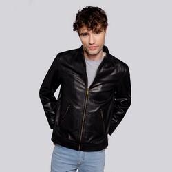 Férfi bőr motoros dzseki zsebbel, fekete, 92-09-650-1-3XL, Fénykép 1