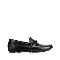 Férfi bőr mokaszinok szőtt részletekkel, fekete, 92-M-905-1-45, Fénykép 1
