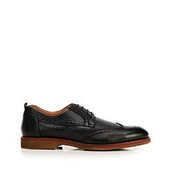 Férfi bőrcipő brogs színes perforációval, fekete, 92-M-920-1-45, Fénykép 1