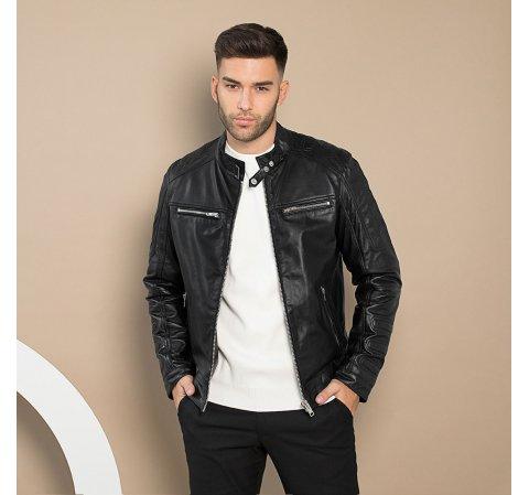 Férfi motoros bőrdzseki, fekete, 91-09-652-1-M, Fénykép 1