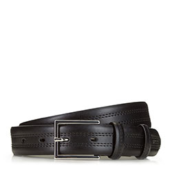 Férfi bőröv dupla díszvarrással, fekete, 91-8M-327-1-10, Fénykép 1