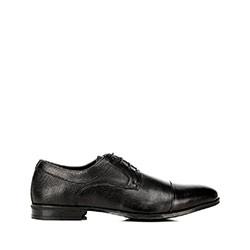 Férfi cipő öltönyhöz dombonyomott bőrből, fekete, 92-M-917-1-44, Fénykép 1