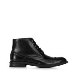 férfi bőrmagasszárú cipő, fekete, 91-M-910-1-42, Fénykép 1