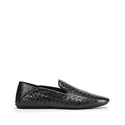 Férfi cipők fonott bőrből, fekete, 93-M-922-1-44, Fénykép 1