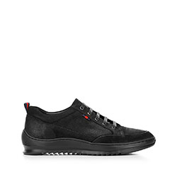 Férfi sneakers nubuk bőrből vastag talppal, fekete, 92-M-913-1-41, Fénykép 1