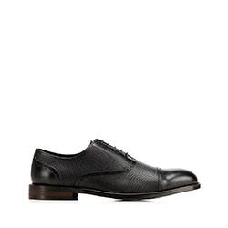Férfi ruhacipő domborított bőrből, fekete, 92-M-553-1-40, Fénykép 1
