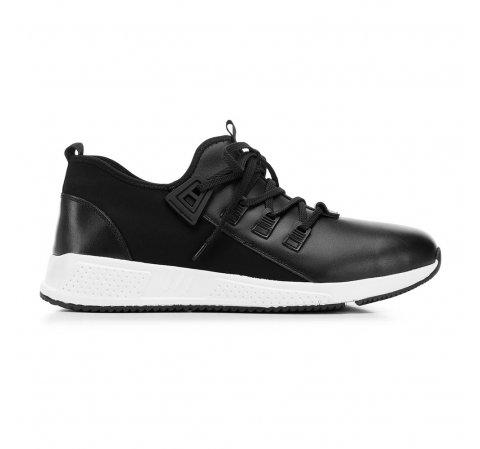 Férfi sneakers bőrből és szövetből, fekete, 92-M-914-1-44, Fénykép 1
