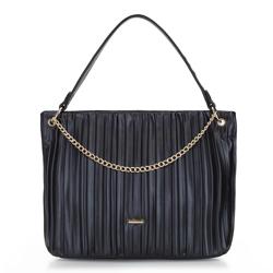 Gyűrött shopper táska, fekete, 92-4Y-550-1, Fénykép 1