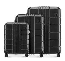Háromrészes bőröndszett polikarbonát, fekete, 56-3P-82S-10, Fénykép 1