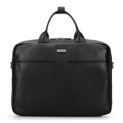 Szemcsés textúrájú bőr laptop táska, fekete, 92-3U-305-1, Fénykép 1