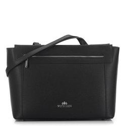 Utazó koffer alakú táska szemcsés bőrből, fekete, 91-4-702-1, Fénykép 1