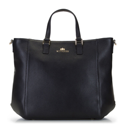 Klasszikus bőr bevásárlótáska, fekete, 92-4E-644-1, Fénykép 1