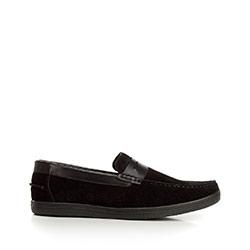 Mokaszin penny loafers velúrból, fekete, 92-M-302-1-44, Fénykép 1