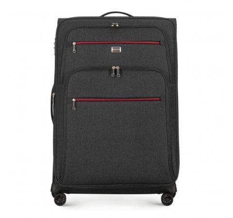 Nagy bőrönd, fekete-szürke, 56-3S-503-90, Fénykép 1