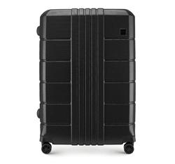 Nagy bőrönd polikarbonát bordás, fekete, 56-3P-823-10, Fénykép 1