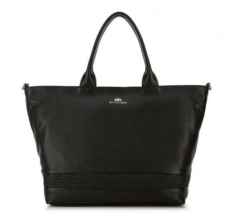 Shopper táska bőrből fonattal, fekete, 91-4E-318-1, Fénykép 1