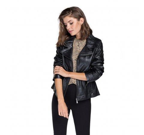 Női ramones dzseki birkabőrből, fekete, 92-09-801-7-XS, Fénykép 1