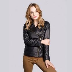 Női bőr motoros dzseki függőleges cipzárral, fekete, 92-09-604-1-L, Fénykép 1