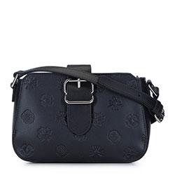 Női bőr táska monogrammal és csattal, fekete, 93-4E-696-1, Fénykép 1