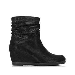 Női bokacsizma platformon fémezett velúrbőrből, fekete, 91-D-955-1-35, Fénykép 1