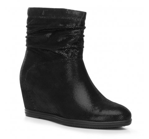 Női bokacsizma platformon fémezett velúrbőrből, fekete, 91-D-955-1-36, Fénykép 1
